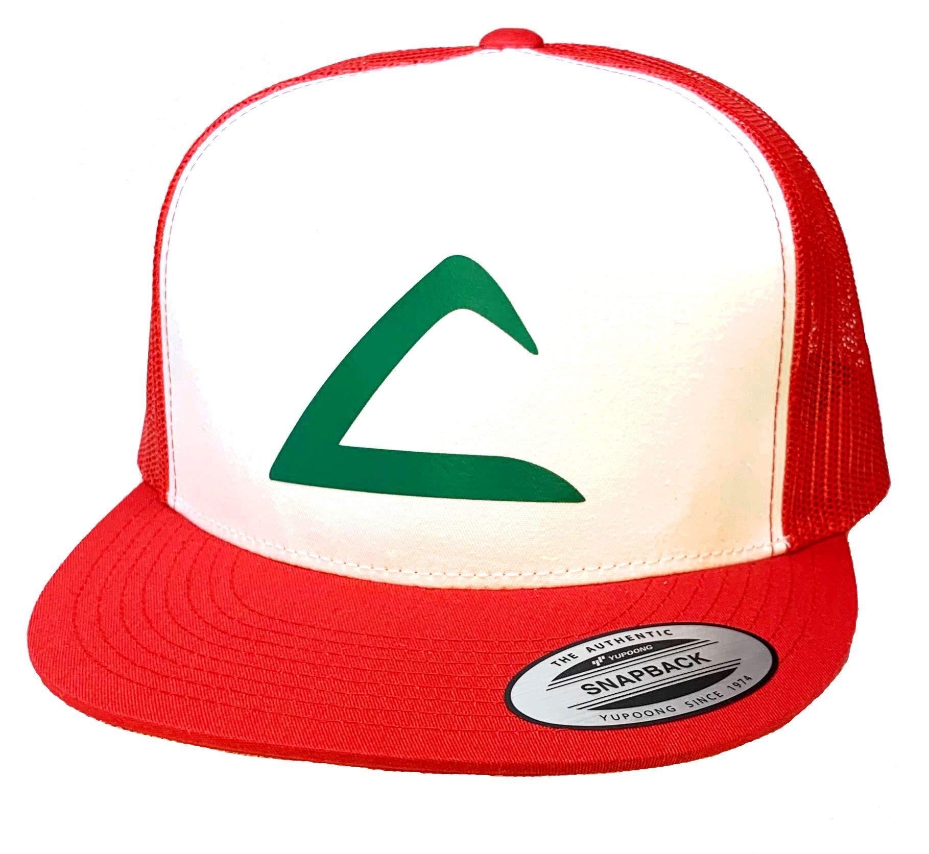 Flat Bill Ash Ketchum Cosplay Hat Mesh Cap Snap Back - Adult Size Red