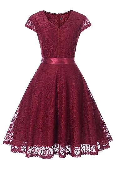 39e2c4126487a Dressupgirls V Neck Lace Swing Casual Dresses Cap Sleeve Vintage ...