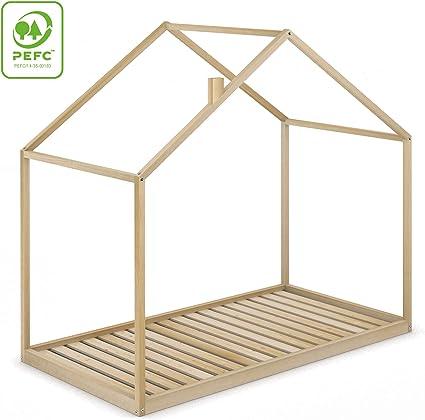 Cama Infantil Tipo Montessori Space, Casita Madera Natural para ...