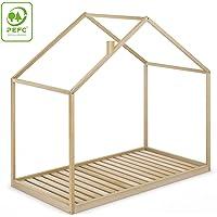 Cama Infantil Tipo Montessori Space, Casita Madera Natural para niño y niña, 90x190 cm