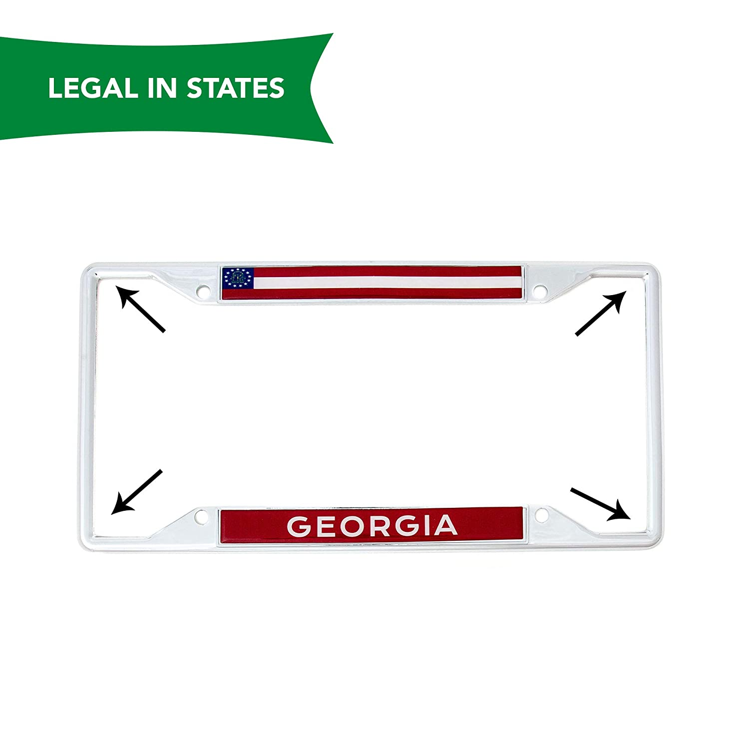 Desert Cactus State of Georgia Flag License Plate Frame for Front Back of Car Vehicle Truck