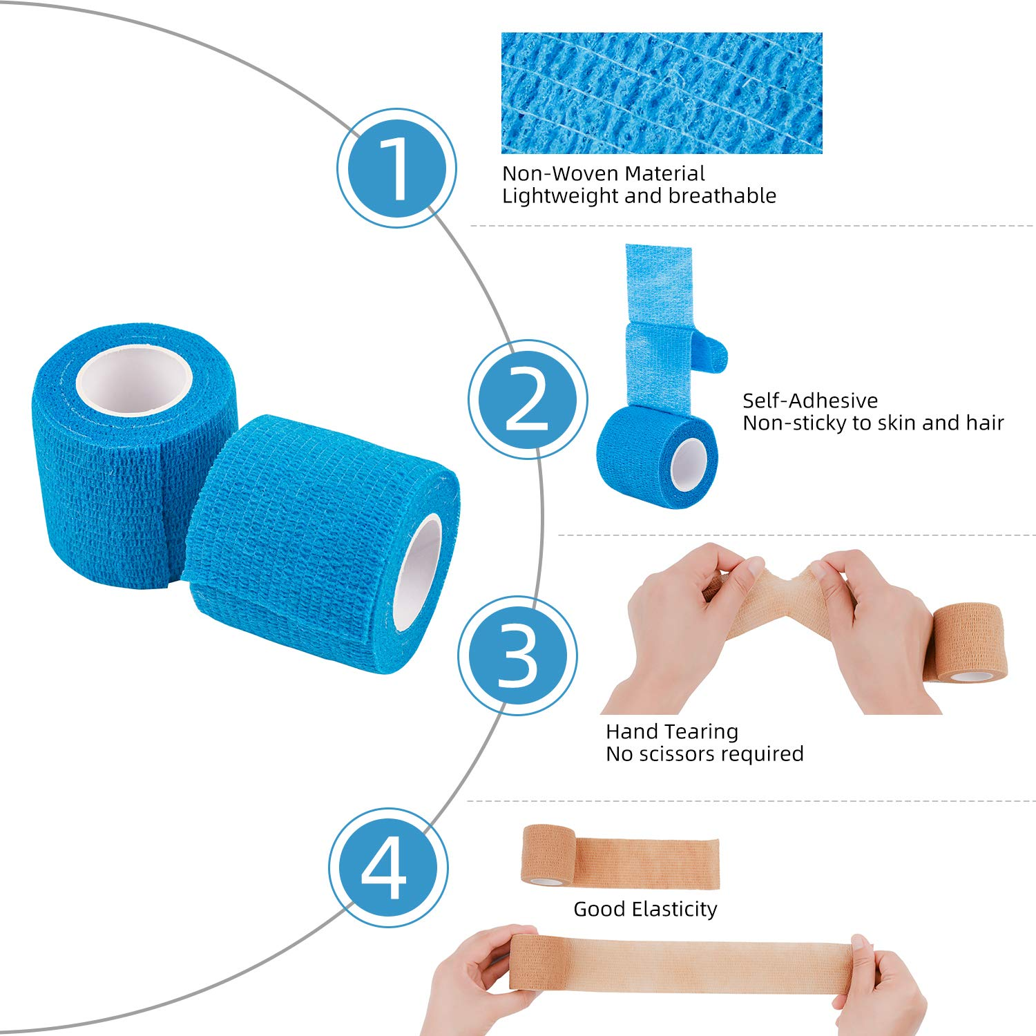 Wrist and Ankle Self Adhesive Bandage 5cm x 4.5m Sports Cohesive Bandages Tape of 12 Rolls Pet Vet Wrap for First Aid
