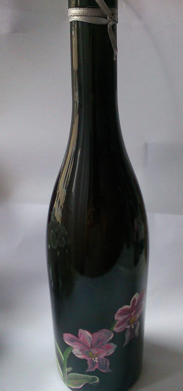 maJe ceramista botella decorada negra con flores rosas orquídeas.: Amazon.es: Handmade