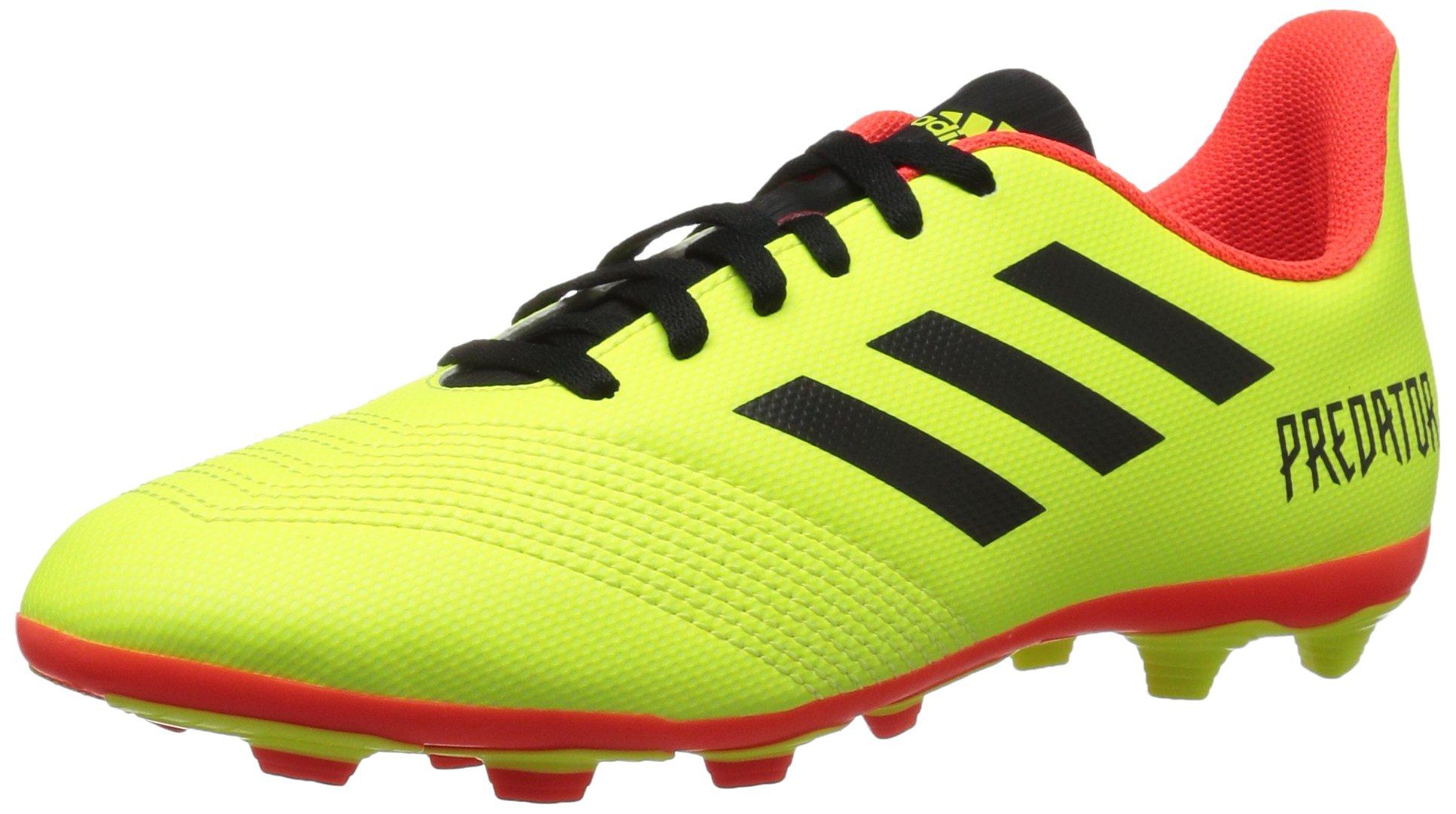 adidas Unisex-Kids Predator 18.4 Firm Ground Soccer Shoe, Solar Yellow/Black/Solar Red, 3.5 M US Big Kid