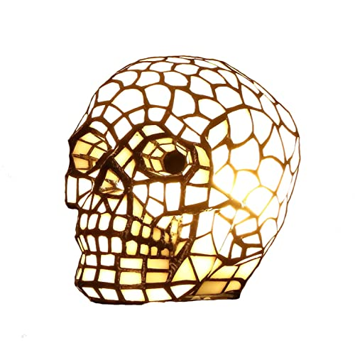 Bieye L10649 Skull Tiffany Style Stained Glass Accent Table Lamp Night Light with 7 Inch Wide Lampshade for Bedside Living Room Bedroom Skull Lovers, White