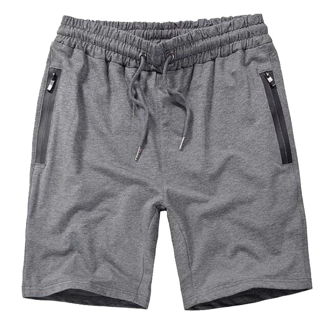 SYTX Mens Summer Solid Elastic Waist Sports Shorts Beach Board Shorts