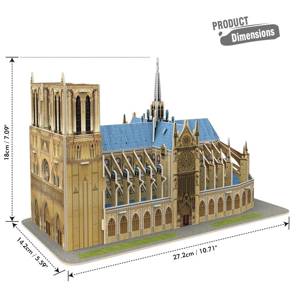 CubicFun 3D Architecture Model Kits Puzzle Challenge for Adults,as Hobbies Gifts,Notre Dame de Paris France