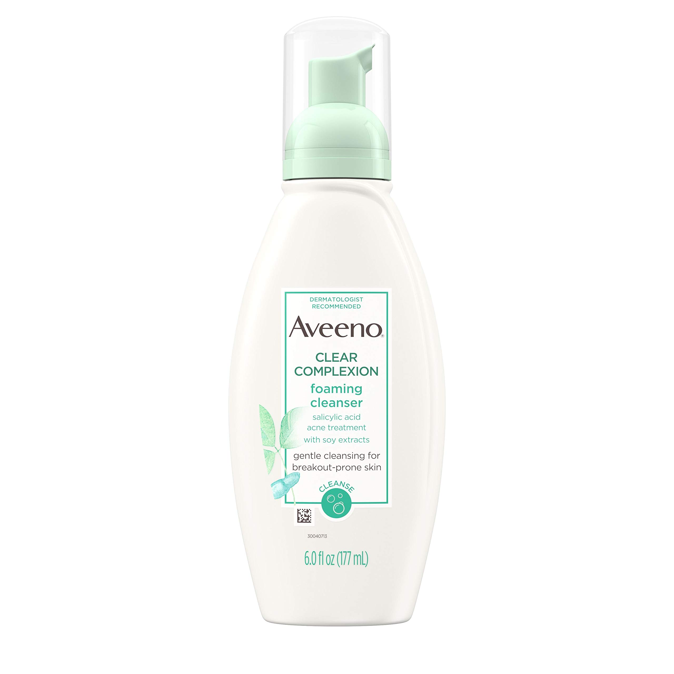Aveeno Clear Complexion Foaming Oil-Free Facial Cleanser with Salicylic Acid for Breakout Prone Skin, Face Wash with Soy Extracts, Hypoallergenic and Non-Comedogenic, 6 fl. Oz (Pack of 3) by Aveeno