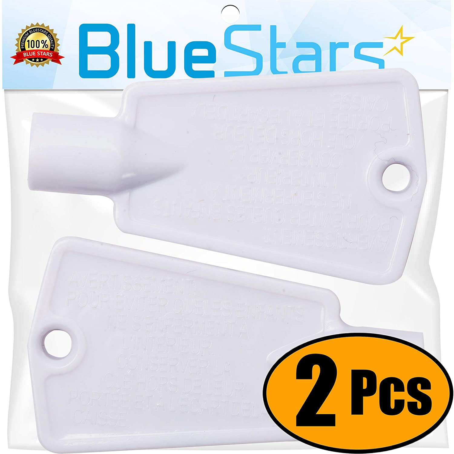 Ultra Durable 297147700 Freezer Door Key Replacement part by Blue Stars - Exact Fit for Frigidaire Kenmore Electrolux freezers - Replaces AP4301346, PS1991481 - PACK OF 2