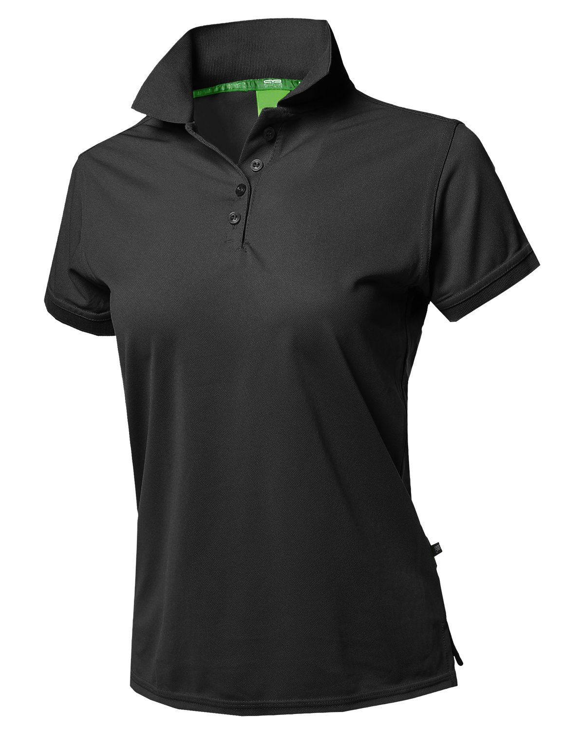 Awesome21 Junior Size Breathable Button Placket Short Sleeves Golf Polo Shirt Black 2XL