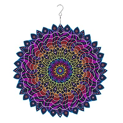 3D Mandala Wind Spinner Decorations Made by Stainless Steel – Laser Cut Metal Mandalas Art, Starburst Hanging Décor – Indoor/Outdoor Decor : Garden & Outdoor