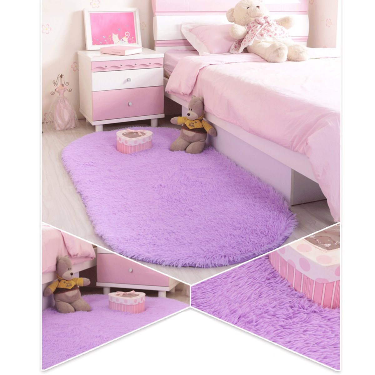 Justdolife Room Area Rug Non Slip Ultra Thick Fluffy Shag Area Rug Kids Carpet Shag Collection