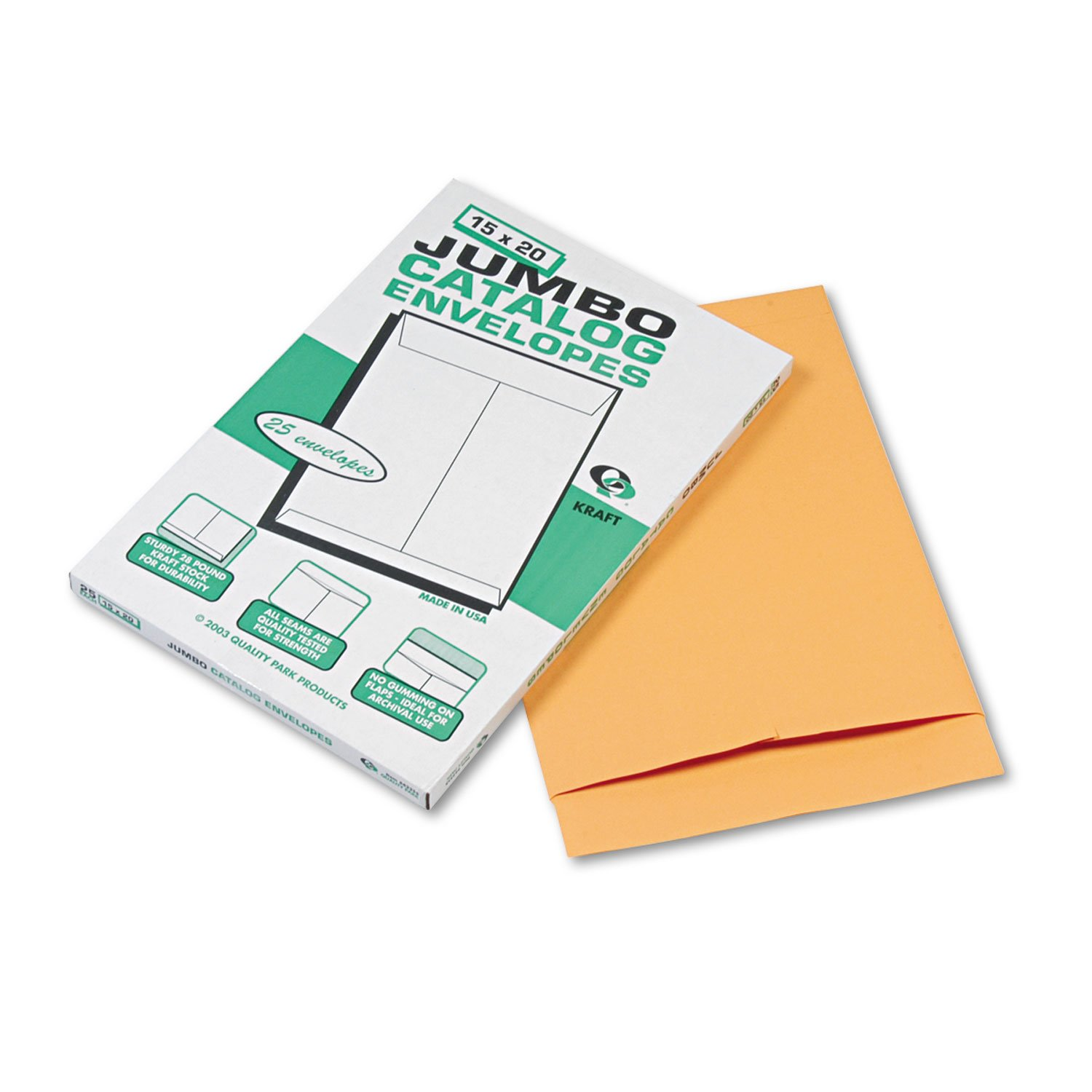 Quality Park Jumbo Envelopes, 15in. x 20in, Brown Kraft, Box Of 25