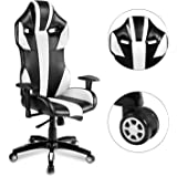 Merax Gaming Racing Chair, Swivel Executive Office Chair with Leather, High Back Computer Chair Including Headrest and Lumbar Pillow, White/Black