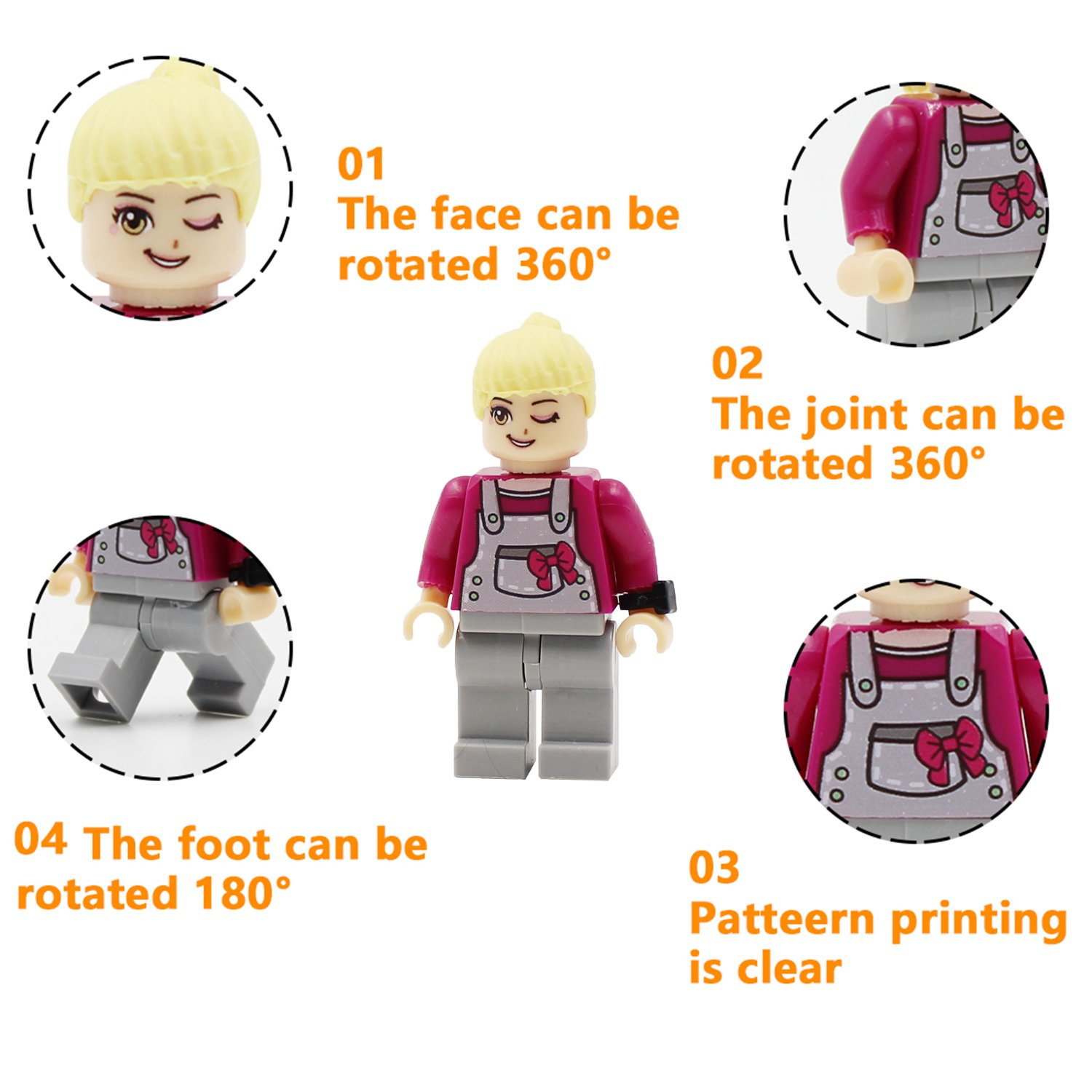 Maykid Mini Figures Set-36 Piece Minifigures Set of Professions Building Blocks Kids Educational Toy Gift Building Bricks of Community People from Different Industries Complete