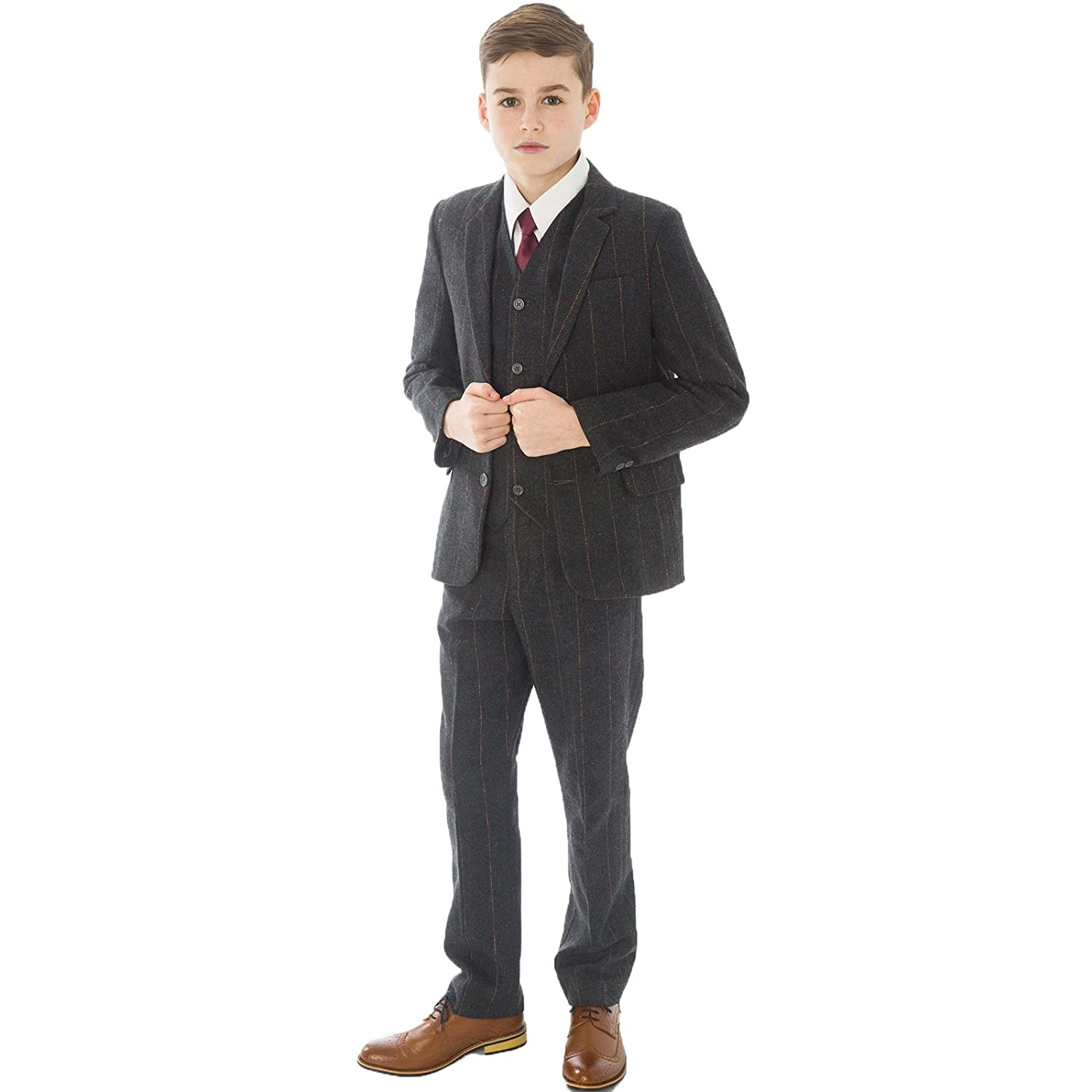 Vintage Style Children's Clothing: Girls, Boys, Baby, Toddler 5pc Grey Check Boys Tweed Suit Boys Wedding blazer Page Boy Party Outfit Boys grey Suit £54.99 AT vintagedancer.com