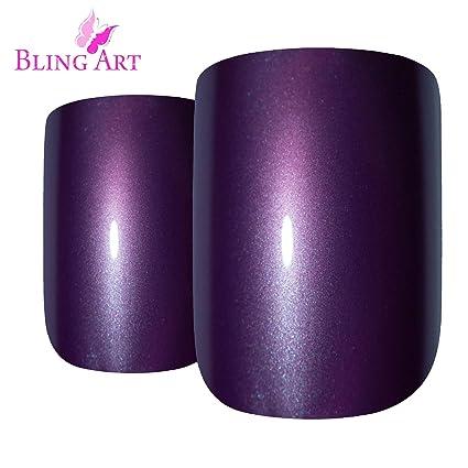 Uñas Postizas Bling Art Púrpura Perlado 24 puntales de acrílico medio faux con pegamento