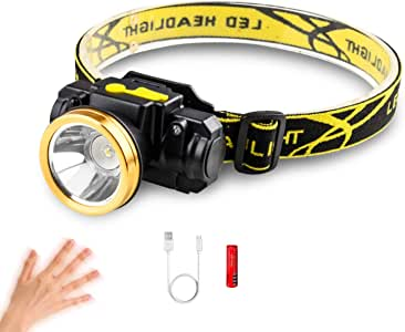 LED Headlamp, XM-L T6 High Lumen Waterproof 3 Modes LED Sensor Headlight Rechargeable Flashlight for Camping Riding Fishing Car Repair Hunting Outdoor Light DIY Works