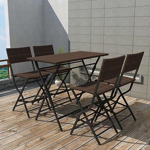 tiauant Mobiliario Mobiliario de Exterior Conjuntos de mobiliario de Exterior Set de Mesa y sillas Altas de Jardin 5 Piezas Poli Ratan Marron Conjunto de Acero inoxidableAnchura del Asiento: 42 cm: Amazon.es: