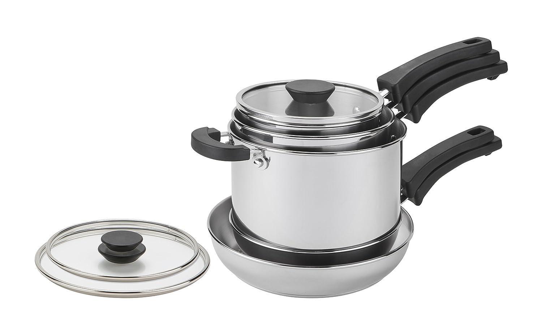 Prestige Kitchen Hacks Sauce and Fry Pan Set, Stainless Steel, 5-Piece Meyer Group Ltd 72202
