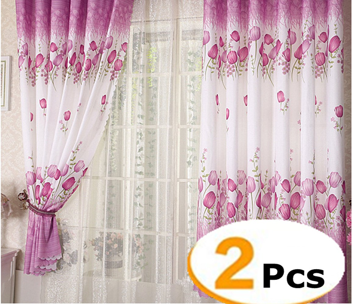 FashionMall 2 Pcs Butterfly Flowers Printing Semi-Blackout Curtains Grommet Top Curtains Window Curtain Panels for Girls Room Bedroom W40 x L78 inch (40 X 78, Butterfly)