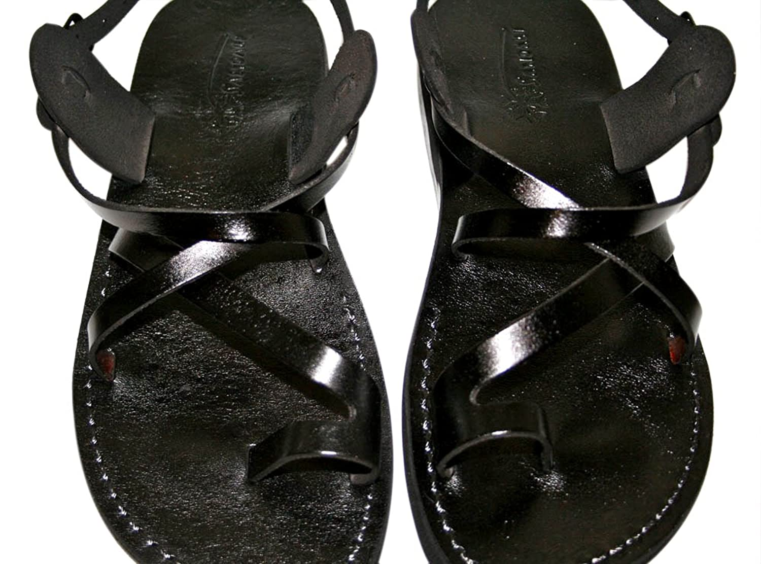 Black Roxy Unisex Leather Sandals / Genuine Handmade Leather Holy Land Biblical Jesus Sandals