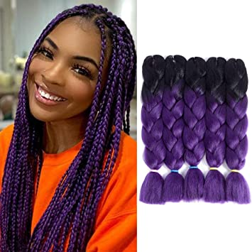Losmoeer 24 Inches Jumbo Braiding Crochet Hair Box Braids 5pcs Lot Jumbo Braiding Hair Synthetic Hair For Senegalese Twists Hair Extensions 2 Tone Black To Dark Purple Beauty