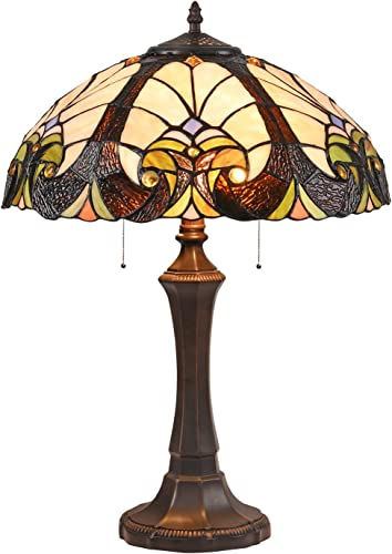 Cotoss Tiffany Table Lamp 2 Light Tiffany Desk Lamp Victorian Stained Glass Desk Lamp 16 Wide Table Lamp