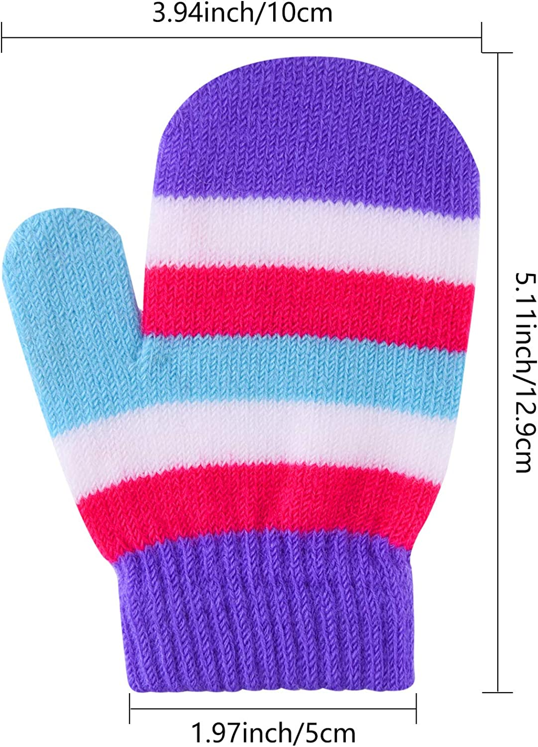 FEPITO 12 Pairs Toddler Magic Stretch Soft Knitted Mittens Baby Boys Girls Winter Gloves