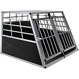 Jalano Doppel Hundebox aus Aluminium für den Transport mittelgroßer Hunde Auto Gitterbox mit geneigter Vorderseite für PKW Kofferraum