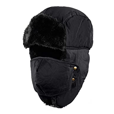 88d7619aad8 Tirain Unisex Winter Trooper Ushanka Hat Ear Flap Hat with mask (Black)   Amazon.co.uk  Clothing