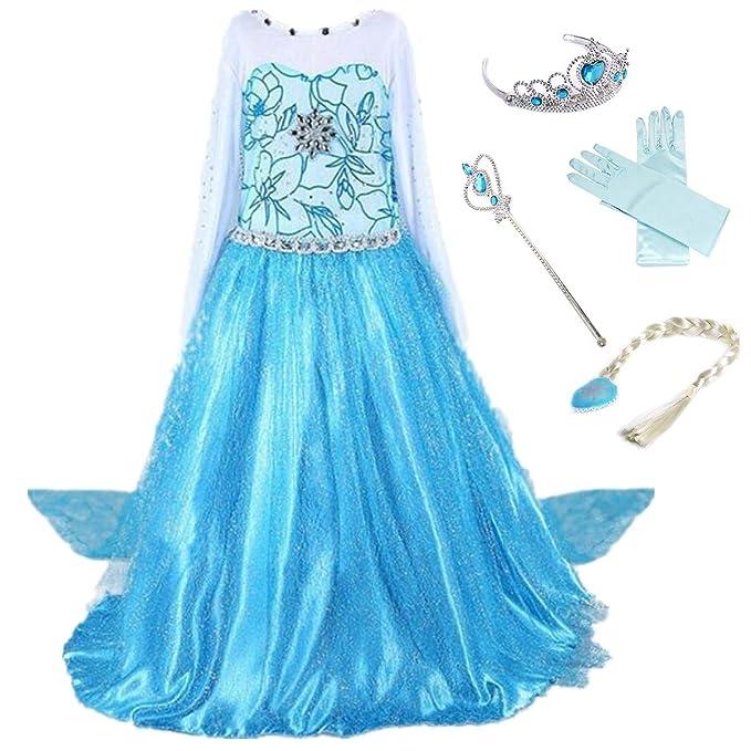 LOBTY Vestido de Princesa Elsa Reina Disfraz Elsa Vestido Infantil ...