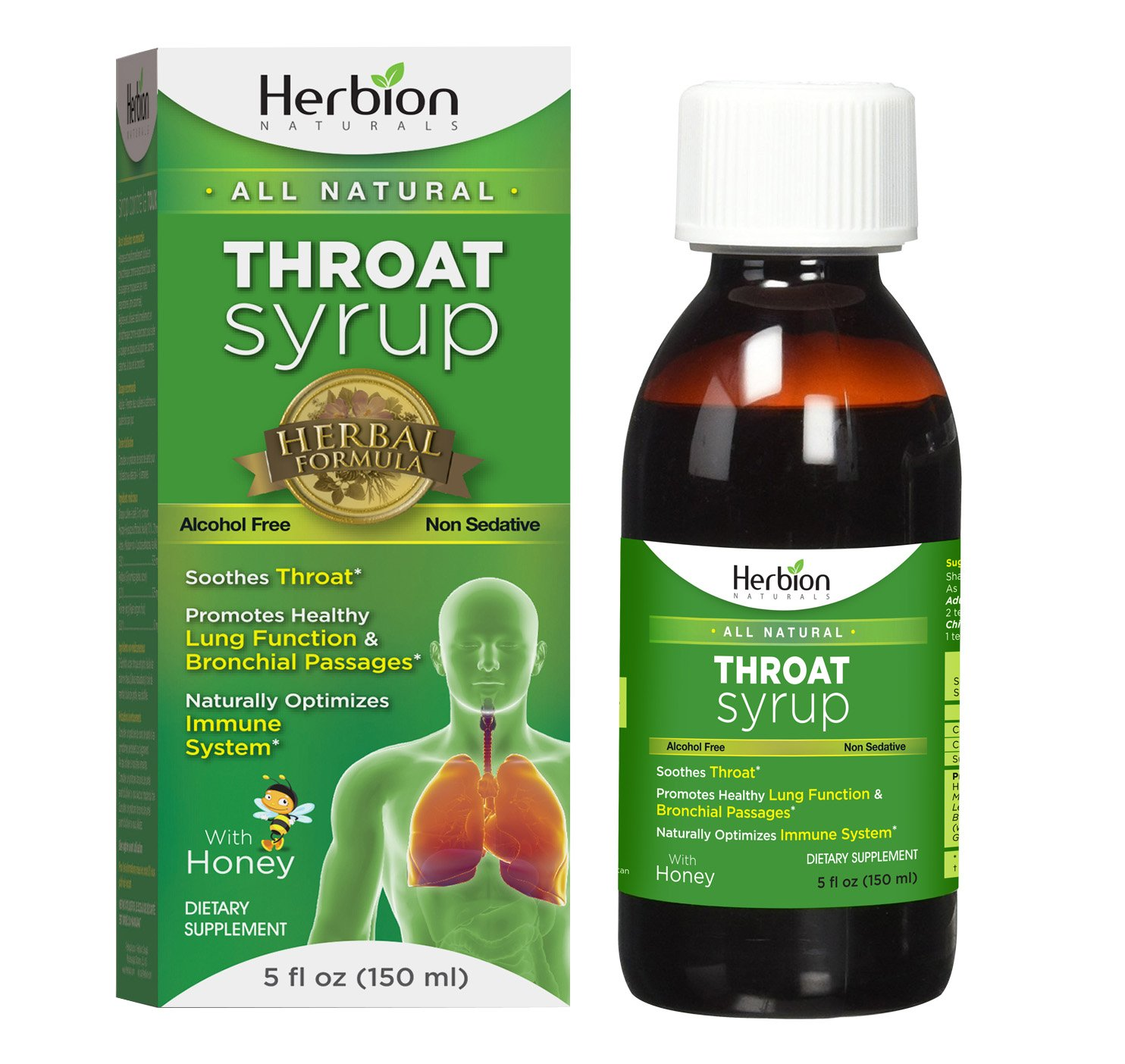 Herbion Naturals Throat Syrup with Honey,5 fl oz - Naturally Tasty, Relieves Cough, Soothes Throat, Promotes Healthy Bronchial Mucosa and Lung Function