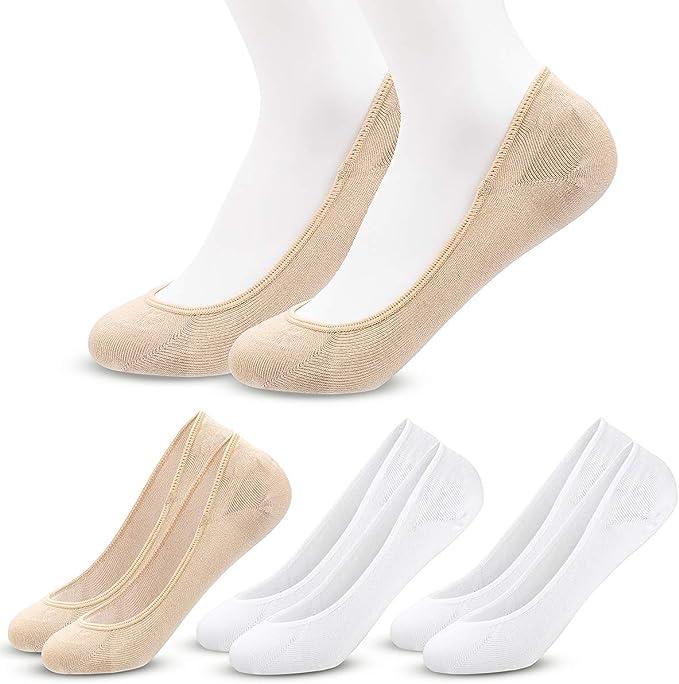 MELLIEX 4 Paires Chaussettes Basses pour Femmes Respirantes Coton Invisibles Anti Dérapant Protège Pieds Socquettes