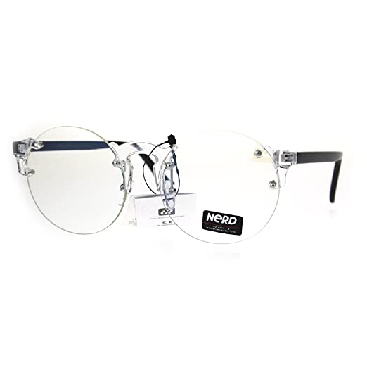 be02a9d7d8 Amazon.com  Nerd Round Rimless Hipster Clear Horn Rim Plastic Eye ...