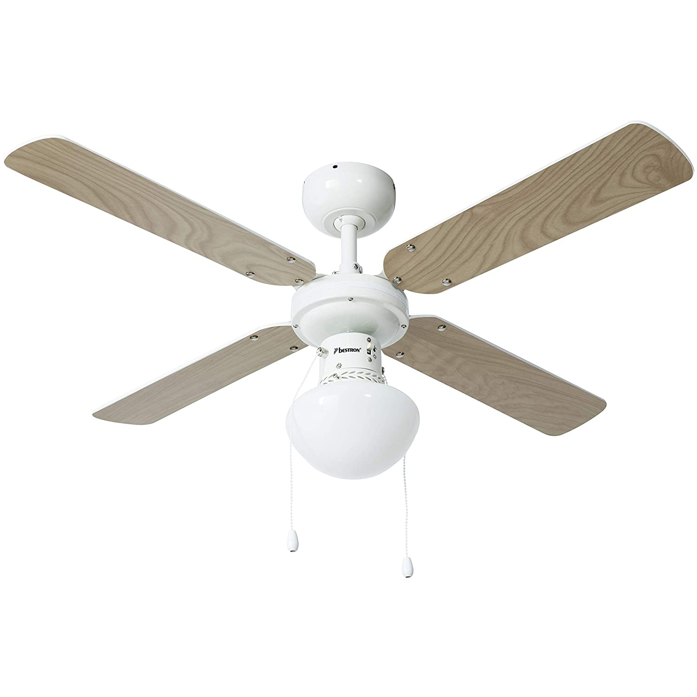/Ø 102 cm Bestron Ventilateur de plafond avec lampe Blanc///Érable 50 W