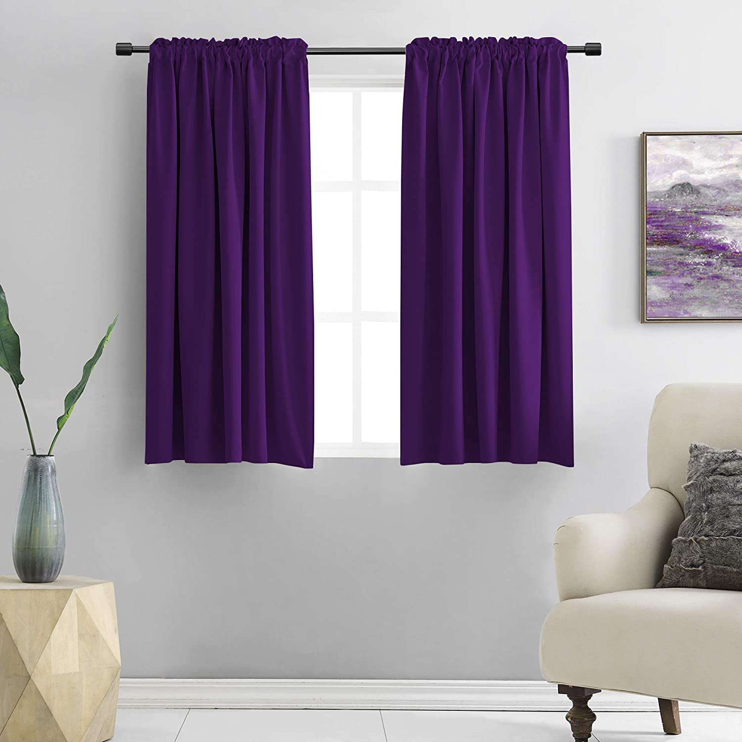 DONREN Royal Purple BlackoutCurtain Panels for Living Room - Thermal Insulated Room Darkening Rod Pocket Drapes for Window (42 x 45 Inch Length,2 Panels)