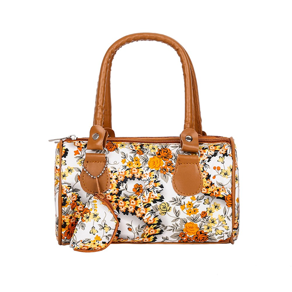 Bangle009 Clearance Sale Women Faux Leather Floral Print Tote Bag Shopping Travel Large Capacity Wallet Black