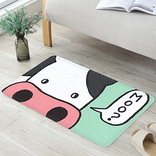 Cute Animals Cow Fabric Door Mat Rug Indoor Outdoor Front Door Shower Bathroom Doormat, Non-Slip Doormats, 18-Inch by 30-Inch
