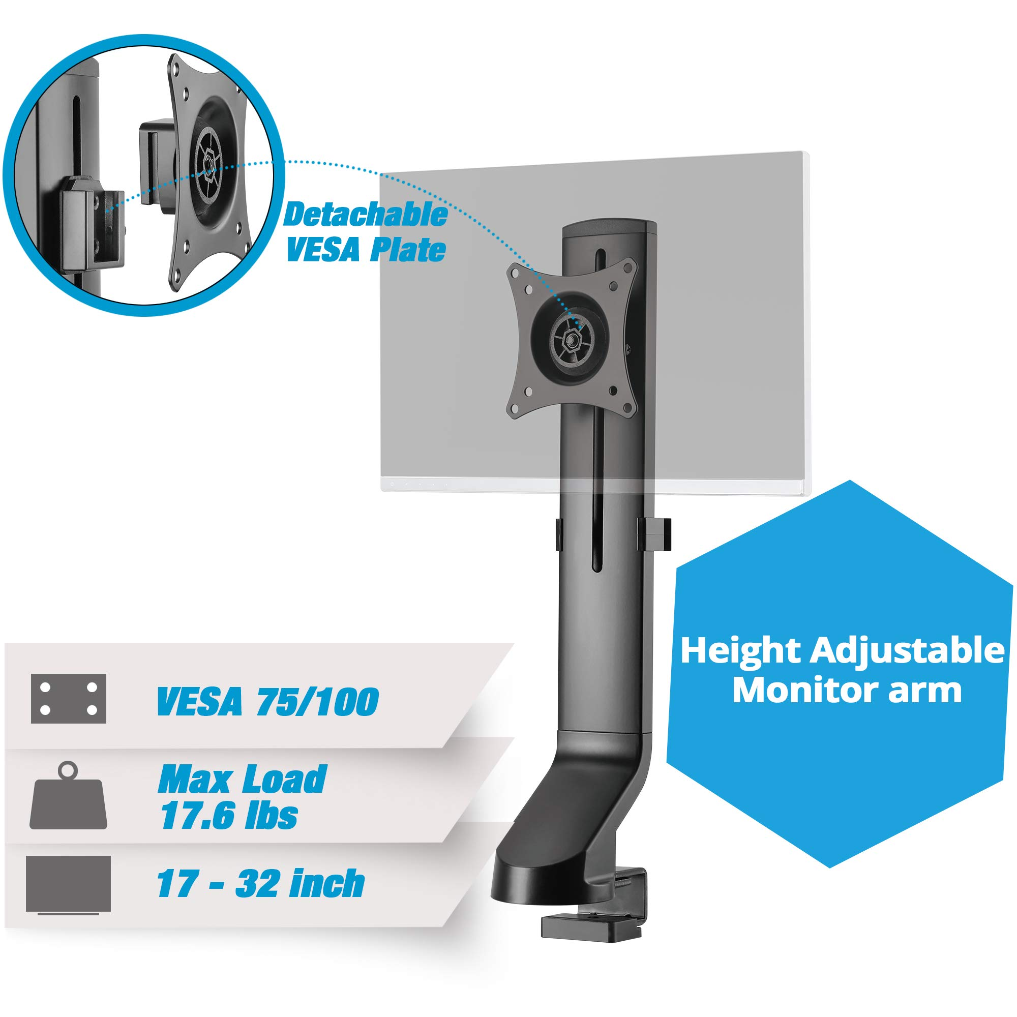 AVLT-Power Single Monitor Mount for Standing Desk Workstation - Extra Height Adjustment Range - Heavy Duty - Holds 17'' to 32'' Screens, up to 17.6 lbs, VESA 75x75mm 100x100mm