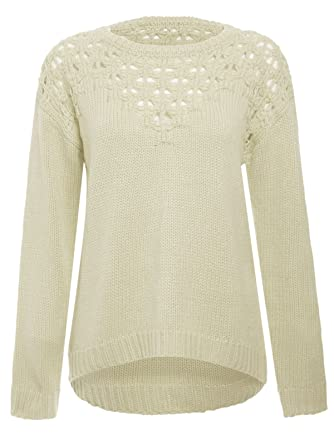 ab67dc390b34 Chaos Theory Women s Sweater Cut Out Hi Lo Knitted Jumper Pullover Cream 14