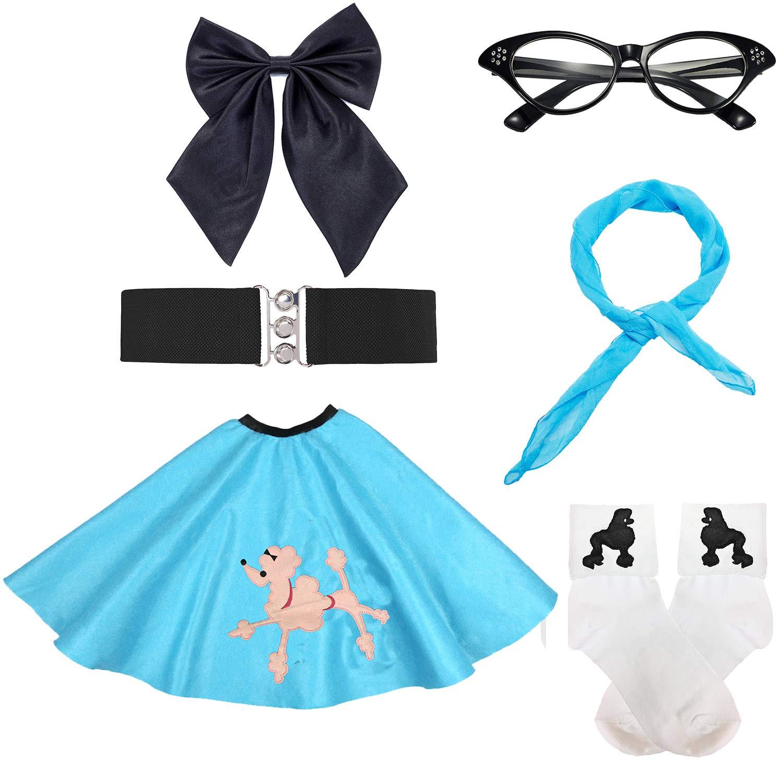 50s Girls Costume Accessory Set - Poodle Skirt,Elastic Cinch Belt,Ponytail Holders,Chiffon Scarf,Cat Eye Glasses,Bobby Socks,Blue