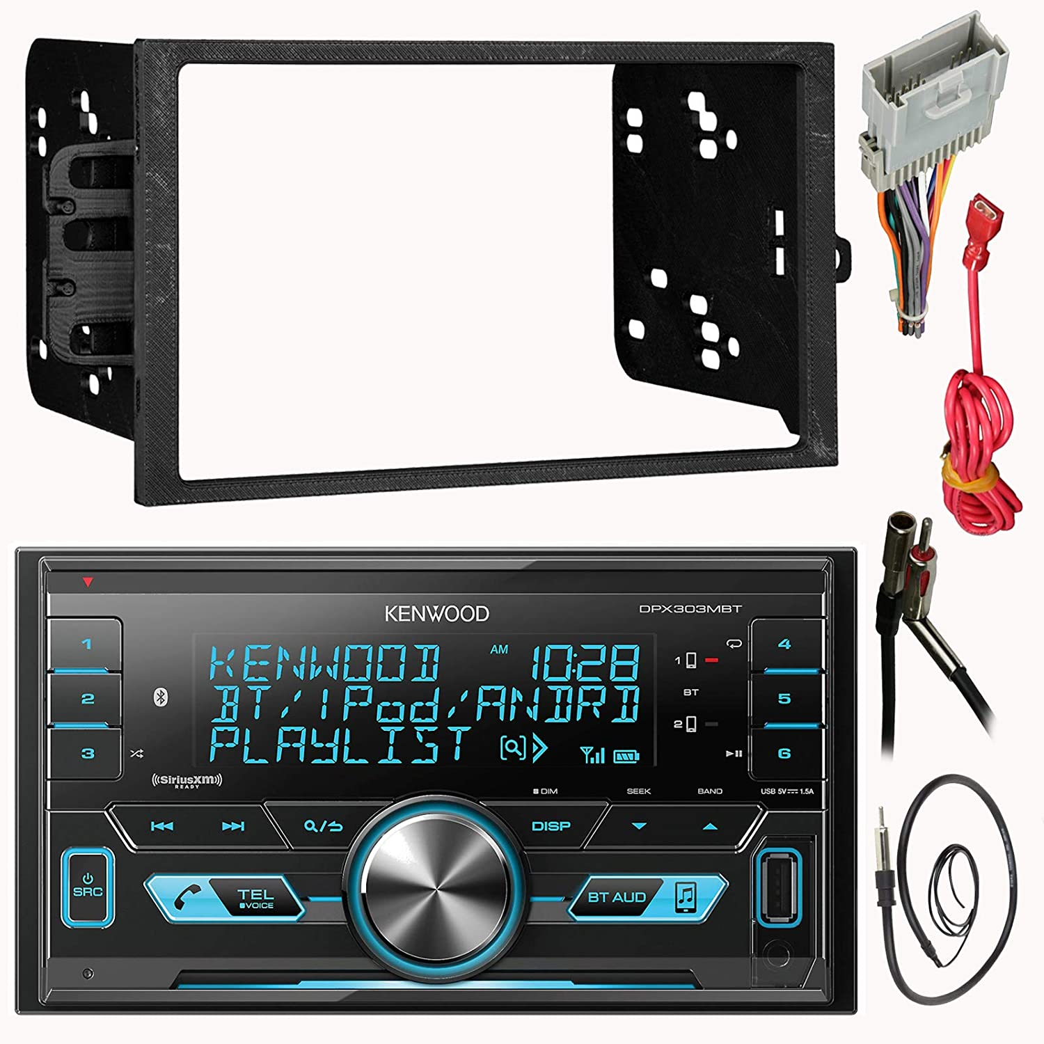 Kenwood Double 2 Din CD MP3 Car Stereo Receiver Bundle Combo with Metra installation kit for car stereo Wire Harness Enrock 22 Radio Antenna with Adapter Fits Most GM Vehicles