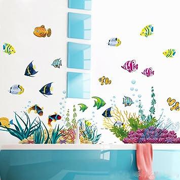 Wandsticker4u Wandtattoo Unterwasserwelt Bunt I Wandbilder 130x42 Cm I Bad Aufkleber Fische Sticker Korallen See Meer I Wand Deko Fur Kinder Kinderzimmer Badezimmer Fliesen Amazon De Kuche Haushalt