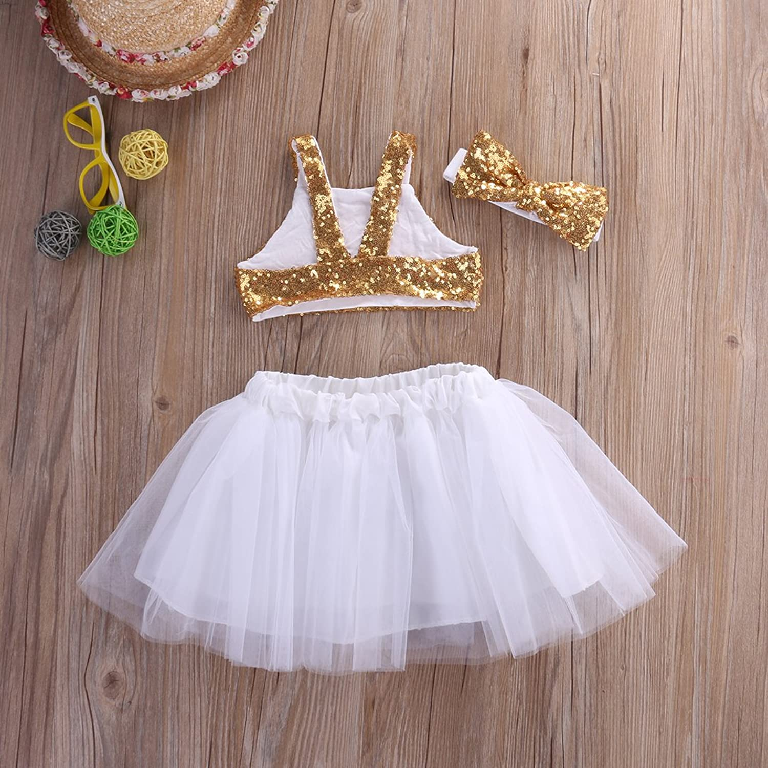 Amazon Toddler Baby Girls Gold Sparkle Sequins Design Tops Tutu