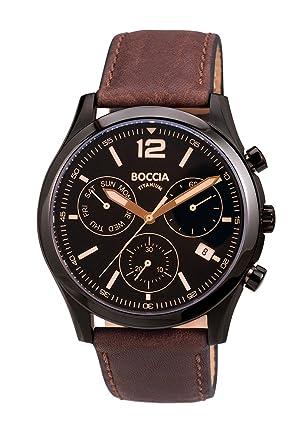 Boccia 3757-02 braunes Lederarmband Chronograph