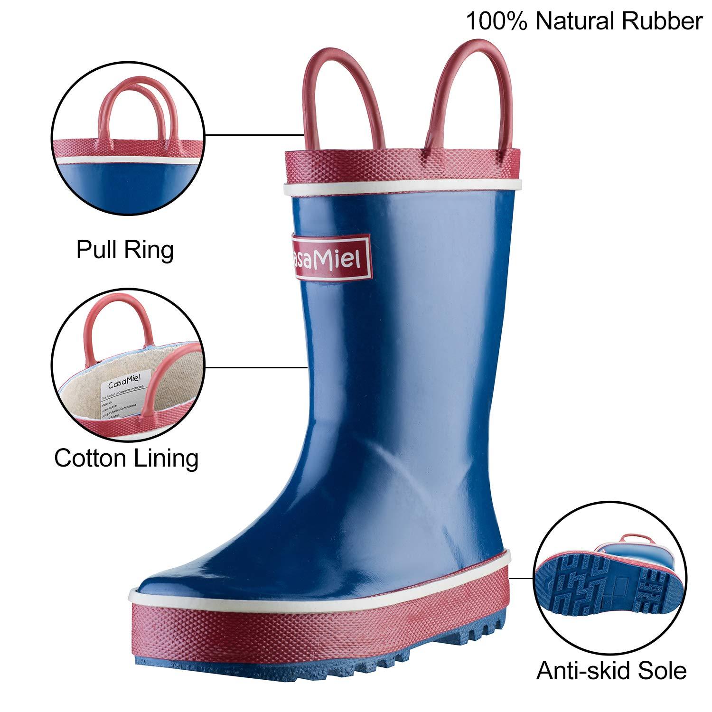 CasaMiel Kids Rain Boots for Boys Toddler Rain Boots for Girls Handmade Natural Rubber Boots for Children