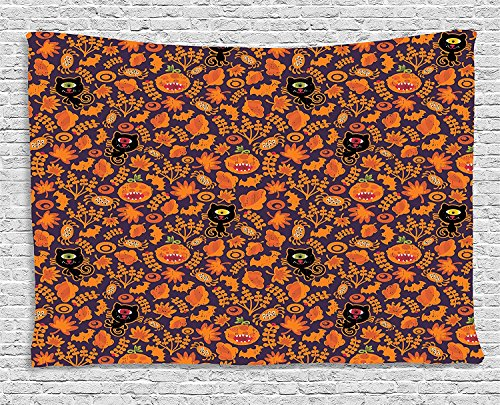 Vintage Halloween Tapestry, Halloween Themed Elements on a Purple Background Scary Mosters, Wall Hanging for Bedroom Living Room Dorm, 80 W X 60 L Inches, Dark Purple Orange]()