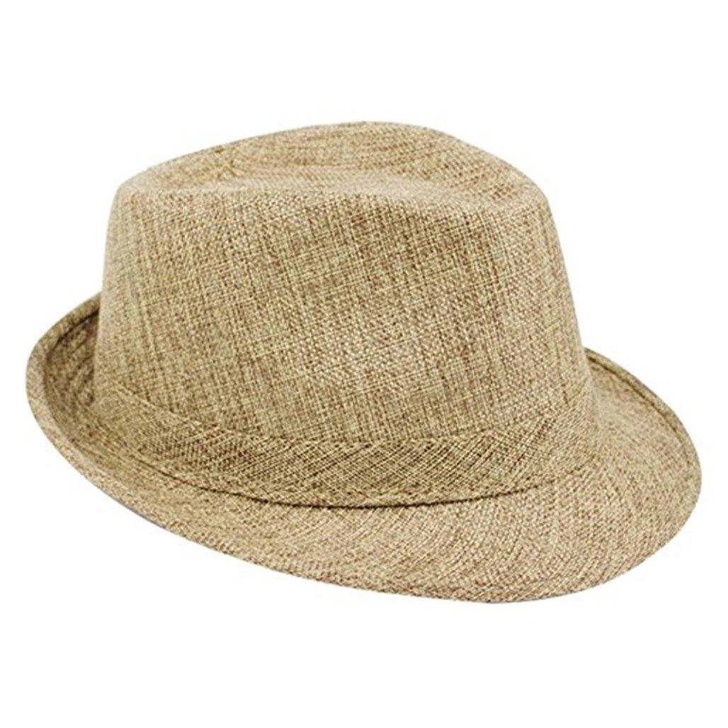 Bodhi2000 Unisex Linen Travel Fedoras Hat Summer Beach Panama Cap 31451383QB0N5421
