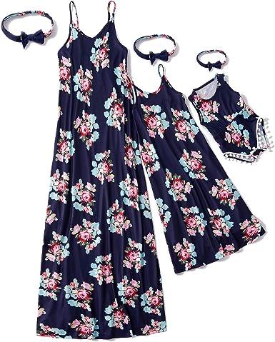 IFFEI Mommy and Me Matching Dress Spaghetti Strap Summer Casual Sundress Beach Sleeveless Dress with Headband Pink